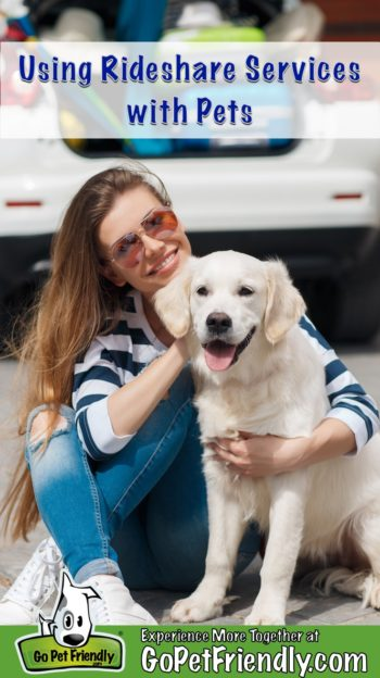 Woman with dog waiting for a rideshare service