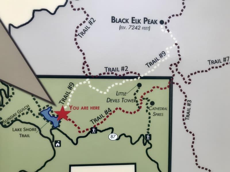 Sign at the Black Elk Peak Trailhead in Custer State Park, South Dakota