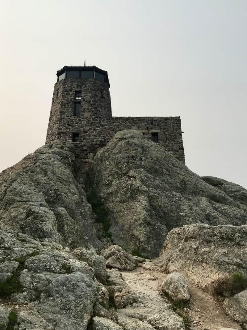 Fire tower on top of Black Elk Peak in the Black Hills, South Dakota