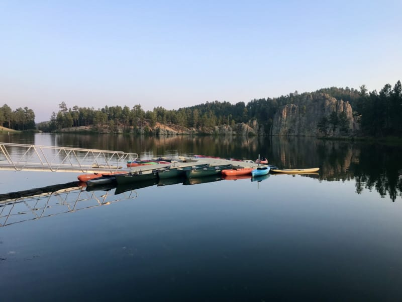View from the pet friendly patio at Legion Lake Lodge in Custer State Park, South Dakota