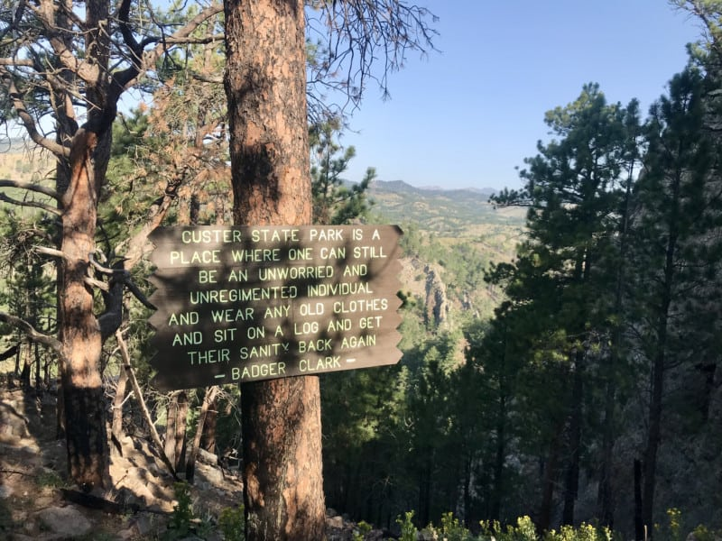 Sign along the pet friendly Lover's Leap Trail in Custer State Park, South Dakota