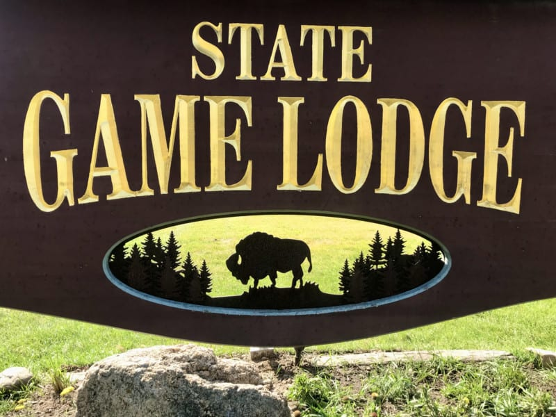 Sign for State Game Lodge at Custer State Park, South Dakota