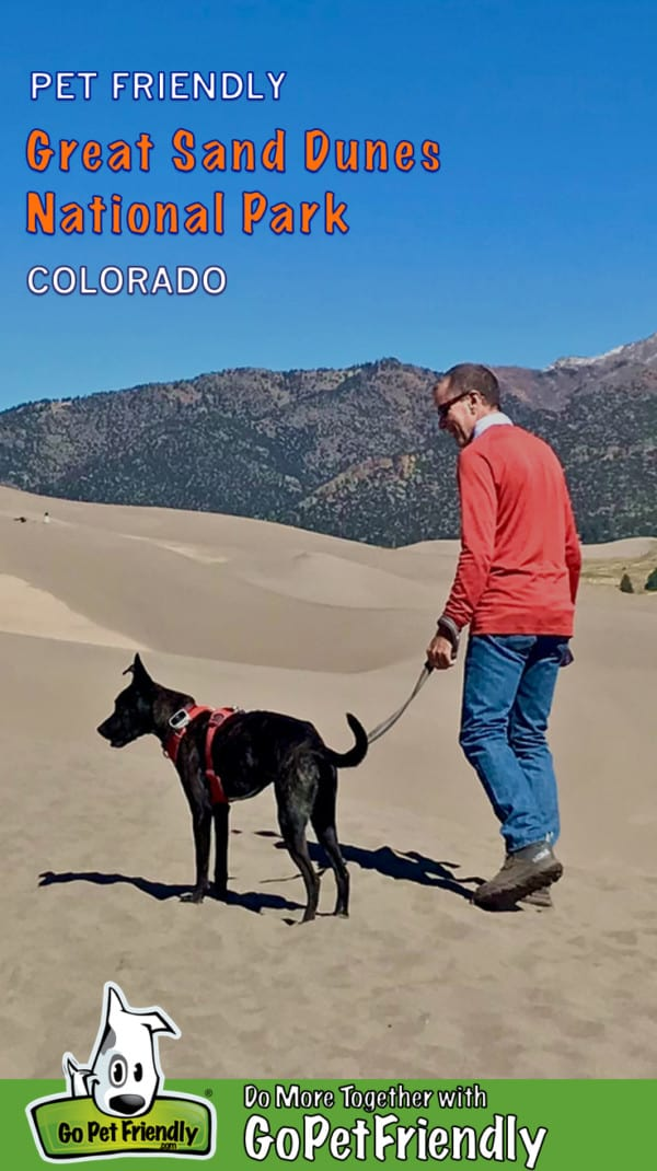 Man walking with a dog in pet friendly Great Sand Dunes National Park, Colorado