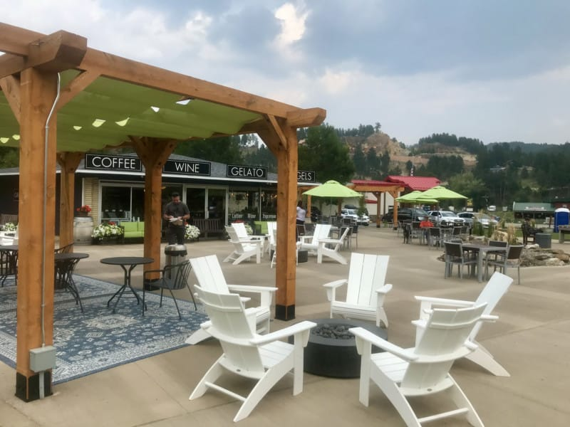 Pet friendly patio at Grapes & Grinds in Keystone, SD