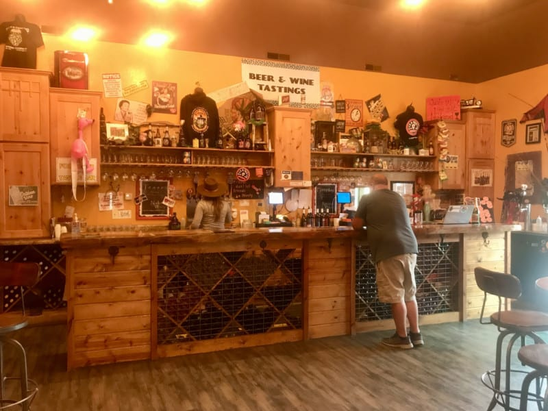 The bar at pet friendly Sick-N-Twisted Brew Pub in Hill City, SD
