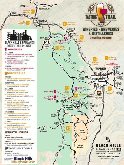 Black Hills Tasting Trail Map