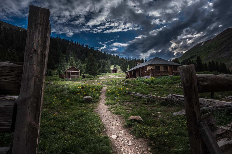 Night photo of Animas Forks ghost town on Alpine Loop near Silverton, CO