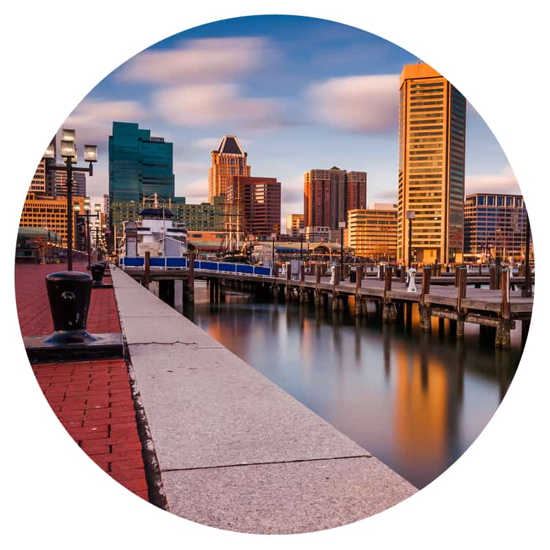 Baltimore, Maryland skyline from the waterfront