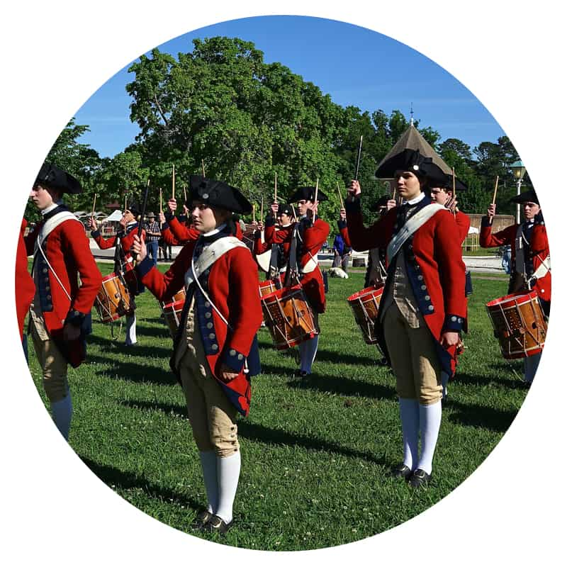 The Drum and Fife Corp at pet friendly Colonial Williamsburg on the Chesapeake Bay