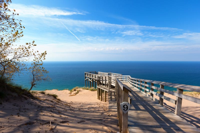 Scenic Overlook #9 at Sleeping Bear Dunes National Lakeshore offering a vista of Lake Michigan