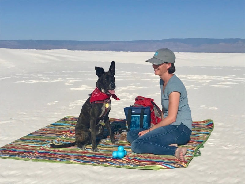 Woman and brindle dog on a picnic blanket in pet friendly White Sands National Park, NM