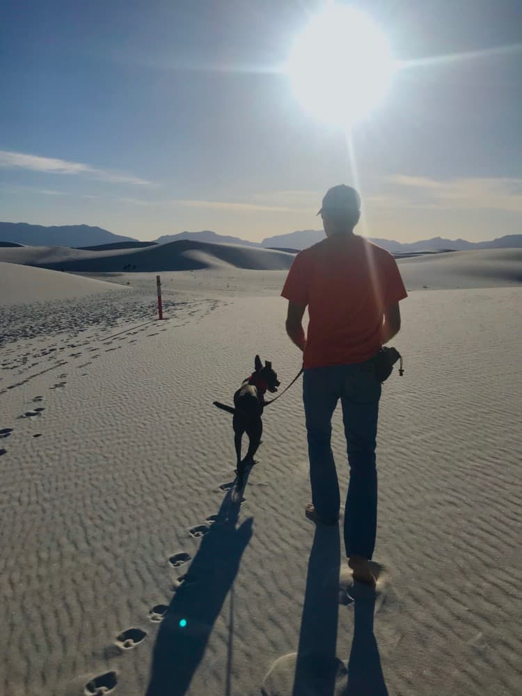 Man and dog walking into the sun on a pet friendly trail in White Sands National Park, NM