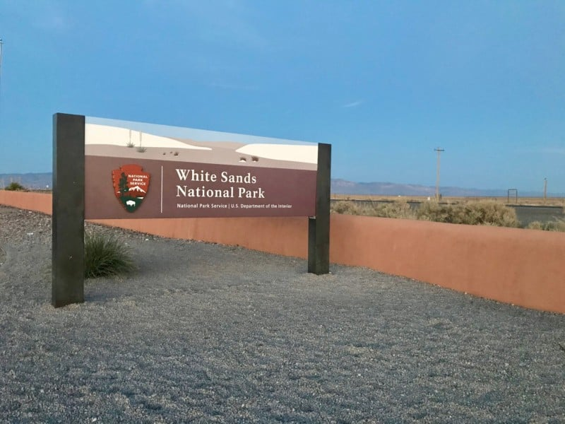 Sign at the entrance of White Sands National Park, NM