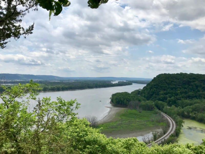 View of the Mississippi River from pet friendly Effigy Mounds National Monument in Iowa