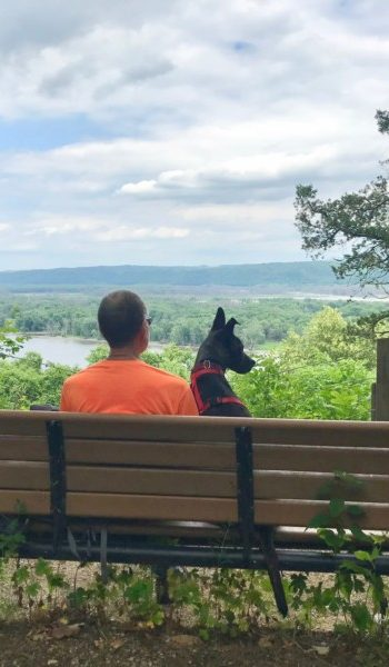 Man and dog on a bench overlooking the Mississippi River at pet friendly Effigy Mounds National Monument, Iowa