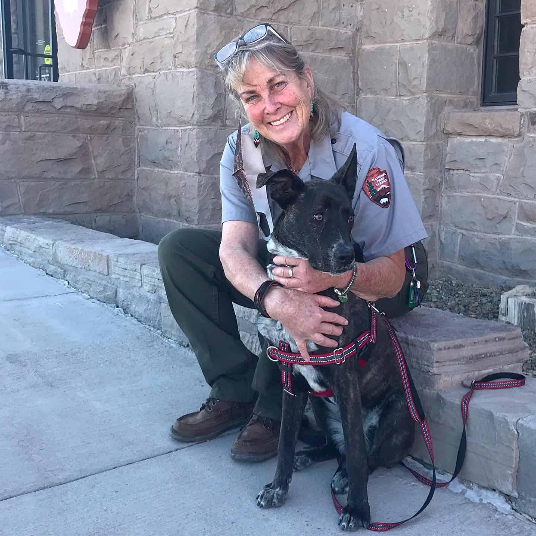 Bark Ranger Myles with human ranger Carol at Petrified Forest National Park