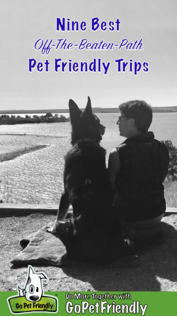 Black and white photo of a woman and a German Shepherd Dog sitting together on a bluff overlooking a lake smiling at each other