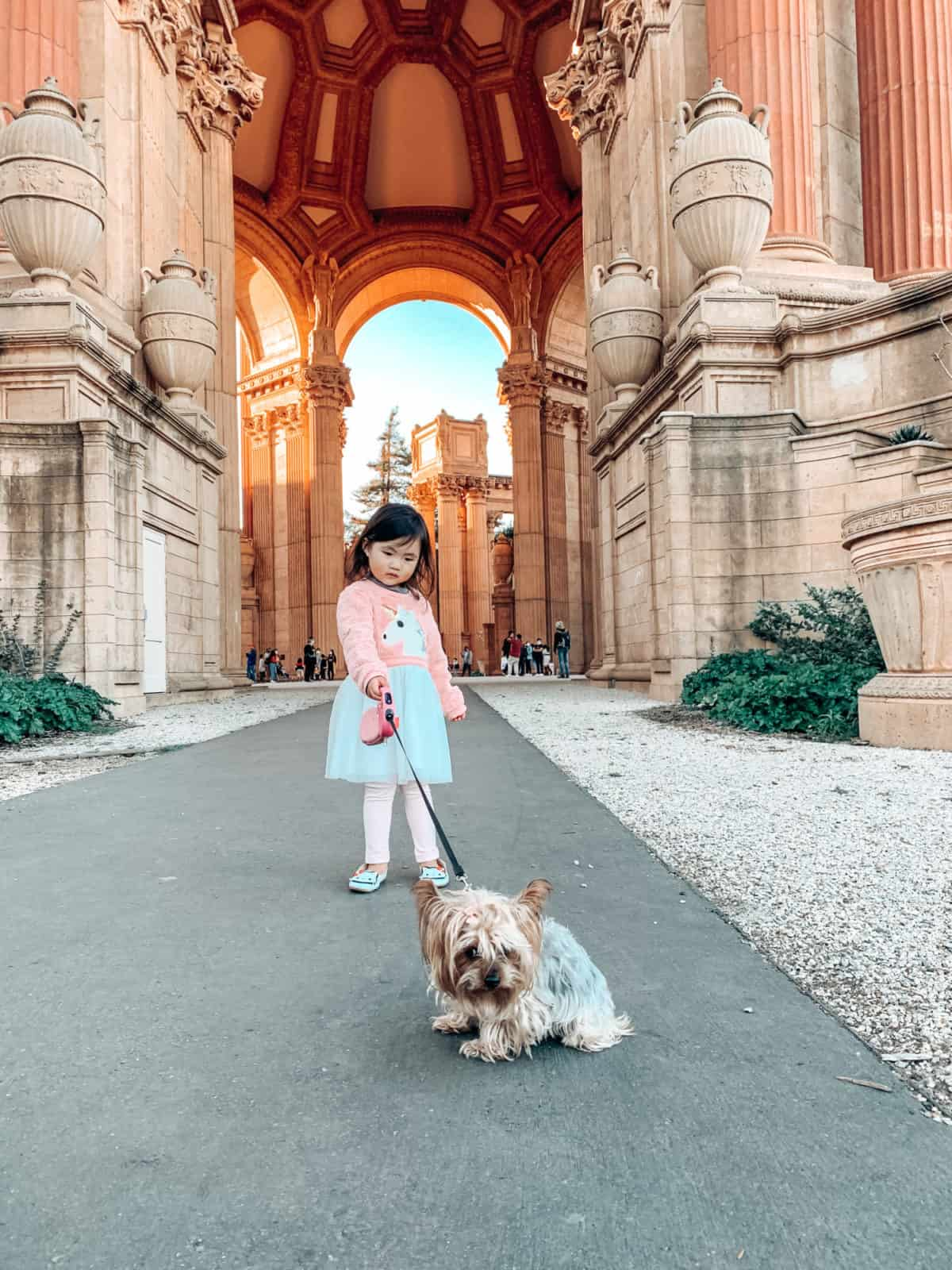 Little girl in a dress with a Yorkie dog on a leash standing in an archway