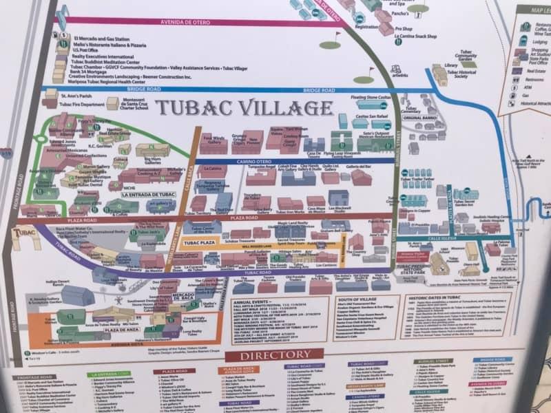 Map of Tubac Village, Arizona