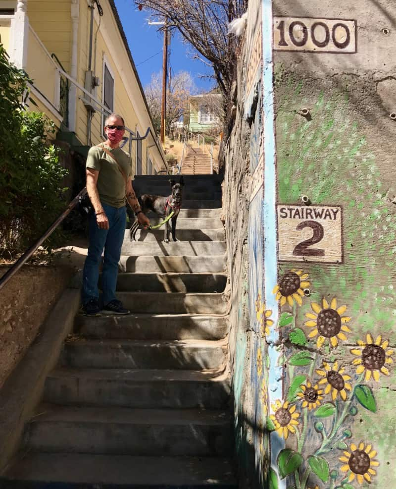 Man and dog on stairway #2 in Bisbee, AZ