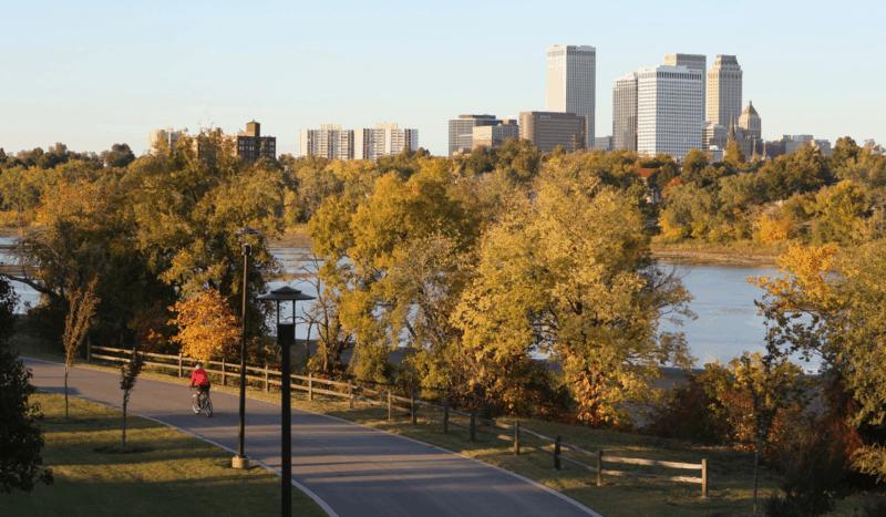 River Parks trail in Tulsa, OK