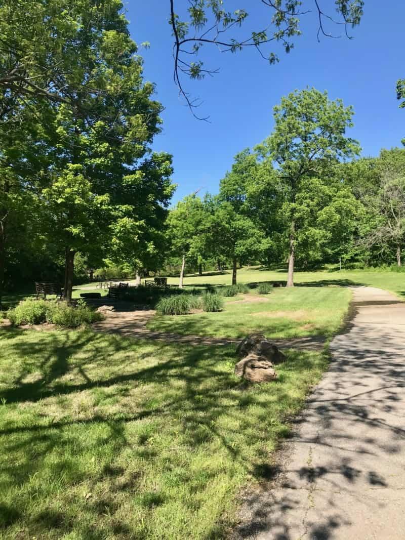 Paved path in pet friendly Stuart Park in Tulsa, OK