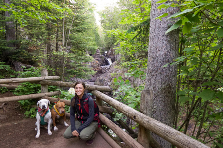 A white dog, a brown dog, and a women post in front of a cascading waterfall in the midst of a pine forest at Cascade River State Park on the North Shore in Minnesota