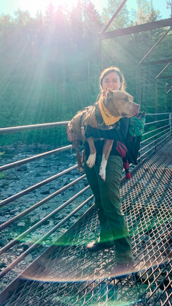 A woman holding a large brown dog while standing on a metal grate bridge over a river at Tettegouche State Park on the North Shore in Minnesota